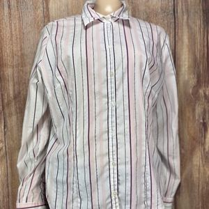 New York & Company L/S Button Striped White/Pink/